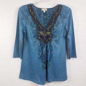 Womens Turquoise Embroidered Boho Blouse Shirt Top
